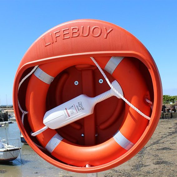 Lifebuoy Ring with housing and encapsulated throw line