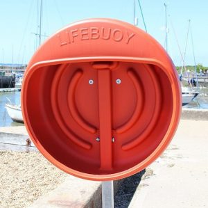 Lifebuoy Housing Cabinet by construction site